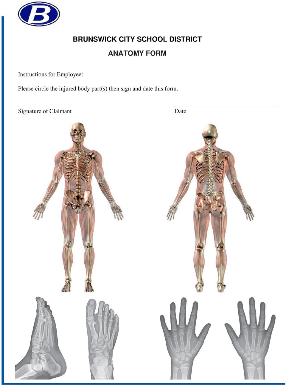 circle the injured body part(s) then sign