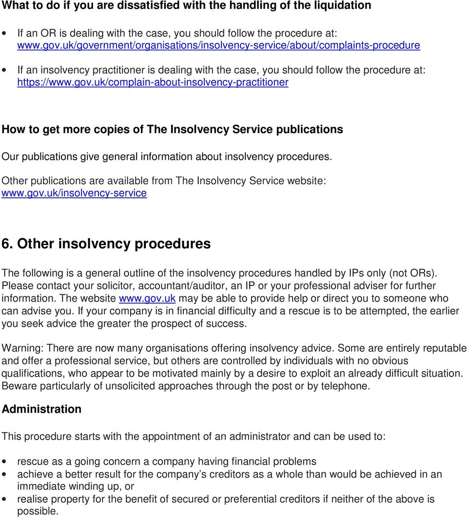 Other publications are available from The Insolvency Service website: www.gov.uk/insolvency-service 6.