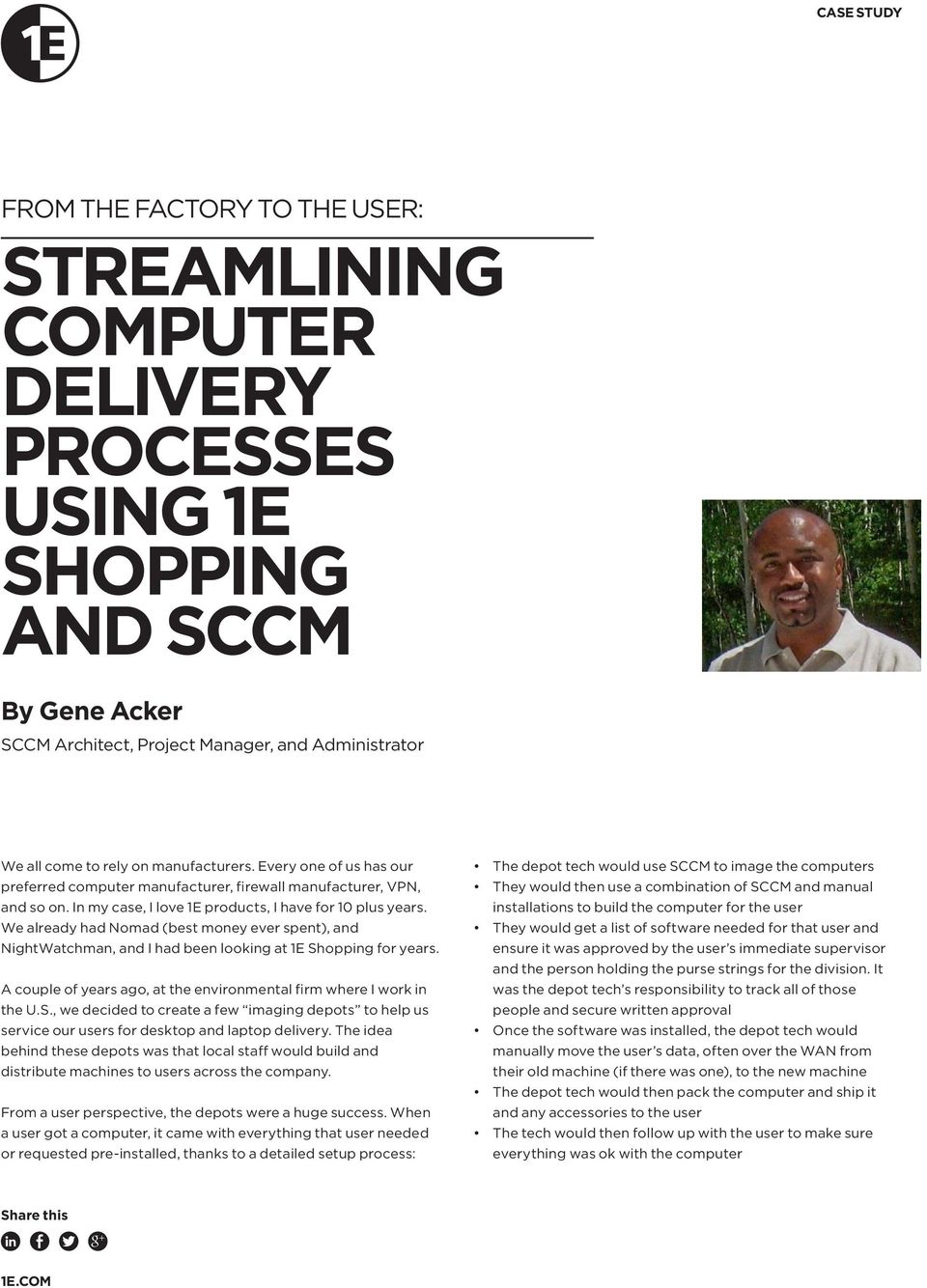 STREAMLINING COMPUTER DELIVERY PROCESSES USING 1E SHOPPING