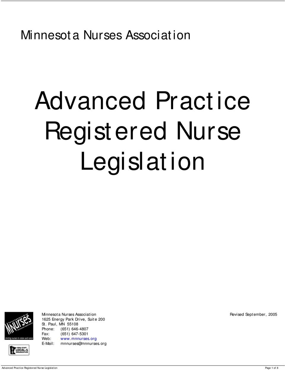 Advanced Practice Registered Nurse Legislation - PDF