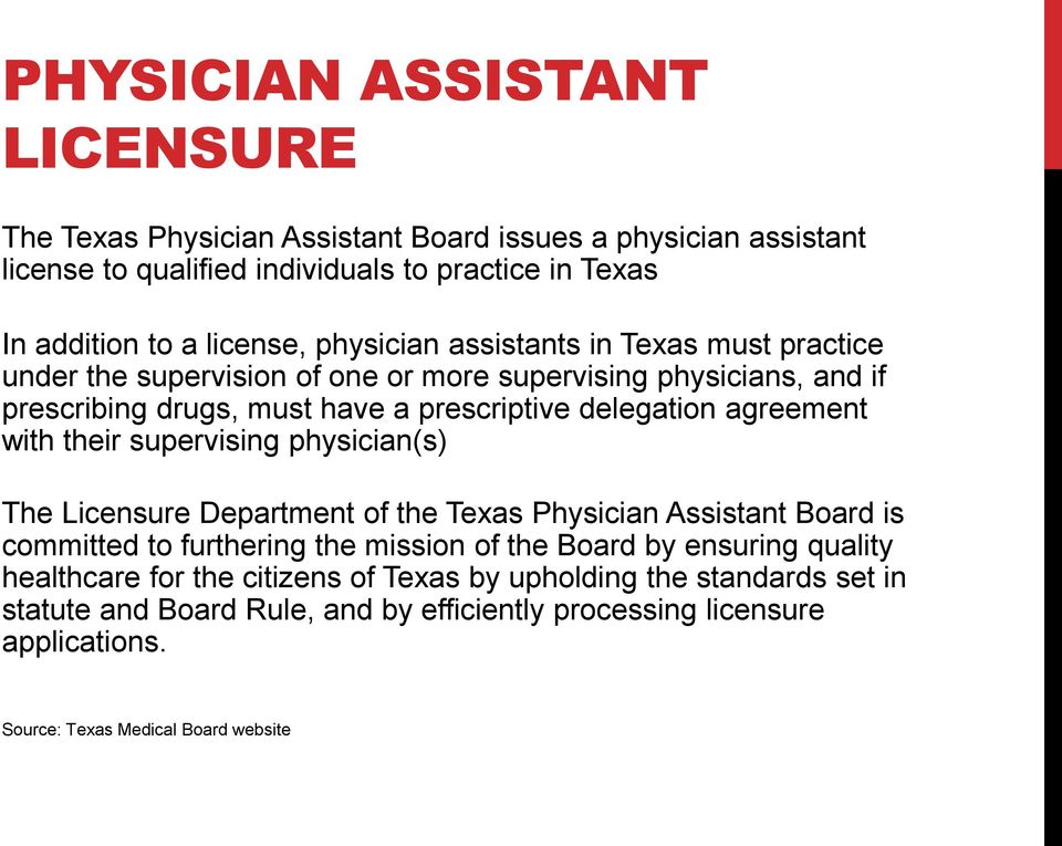 with their supervising physician(s) The Licensure Department of the Texas Physician Assistant Board is committed to furthering the mission of the Board by ensuring quality