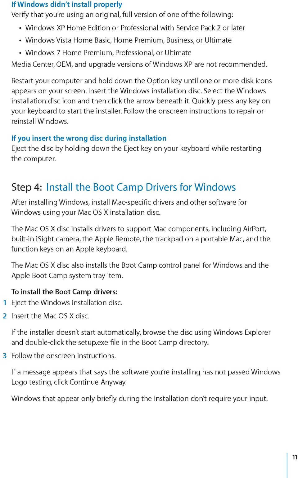 Boot Camp Installation & Setup Guide - PDF
