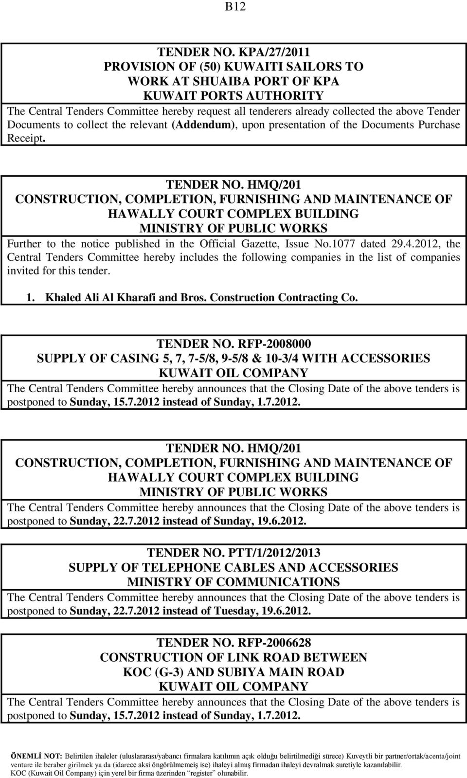 INVITED TENDERS TENDER NO  QS/T/286 A P  8  General Maintenance For