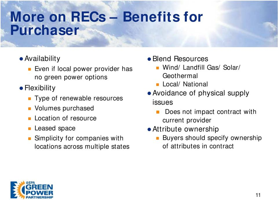 multiple states Blend Resources Wind/ Landfill Gas/ Solar/ Geothermal Local/ National Avoidance of physical supply issues