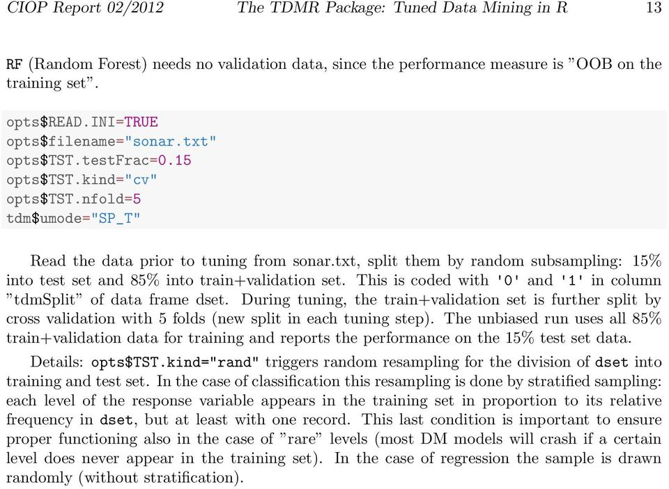 The TDMR Package: Tuned Data Mining in R - PDF