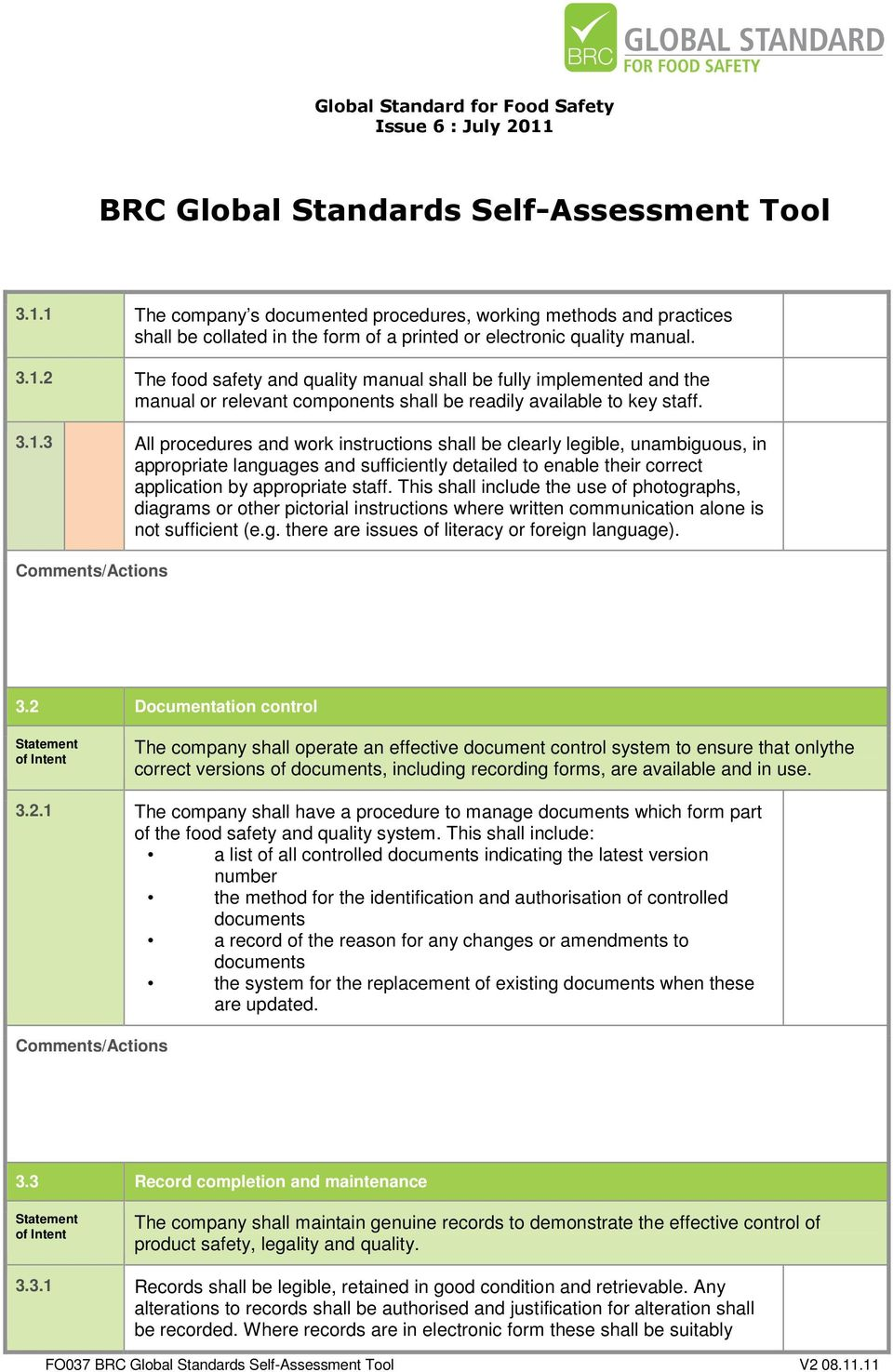 BRC GLOBAL STANDARDS SELF-ASSESSMENT TOOL - PDF