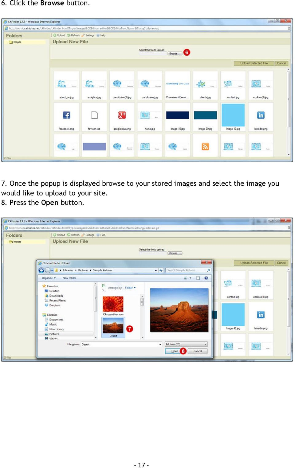 stored images and select the image you would