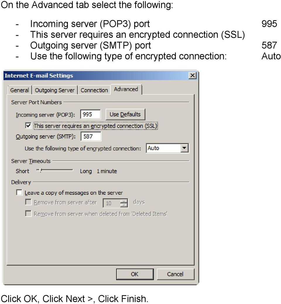 (SSL) - Outgoing server (SMTP) port 587 - Use the following