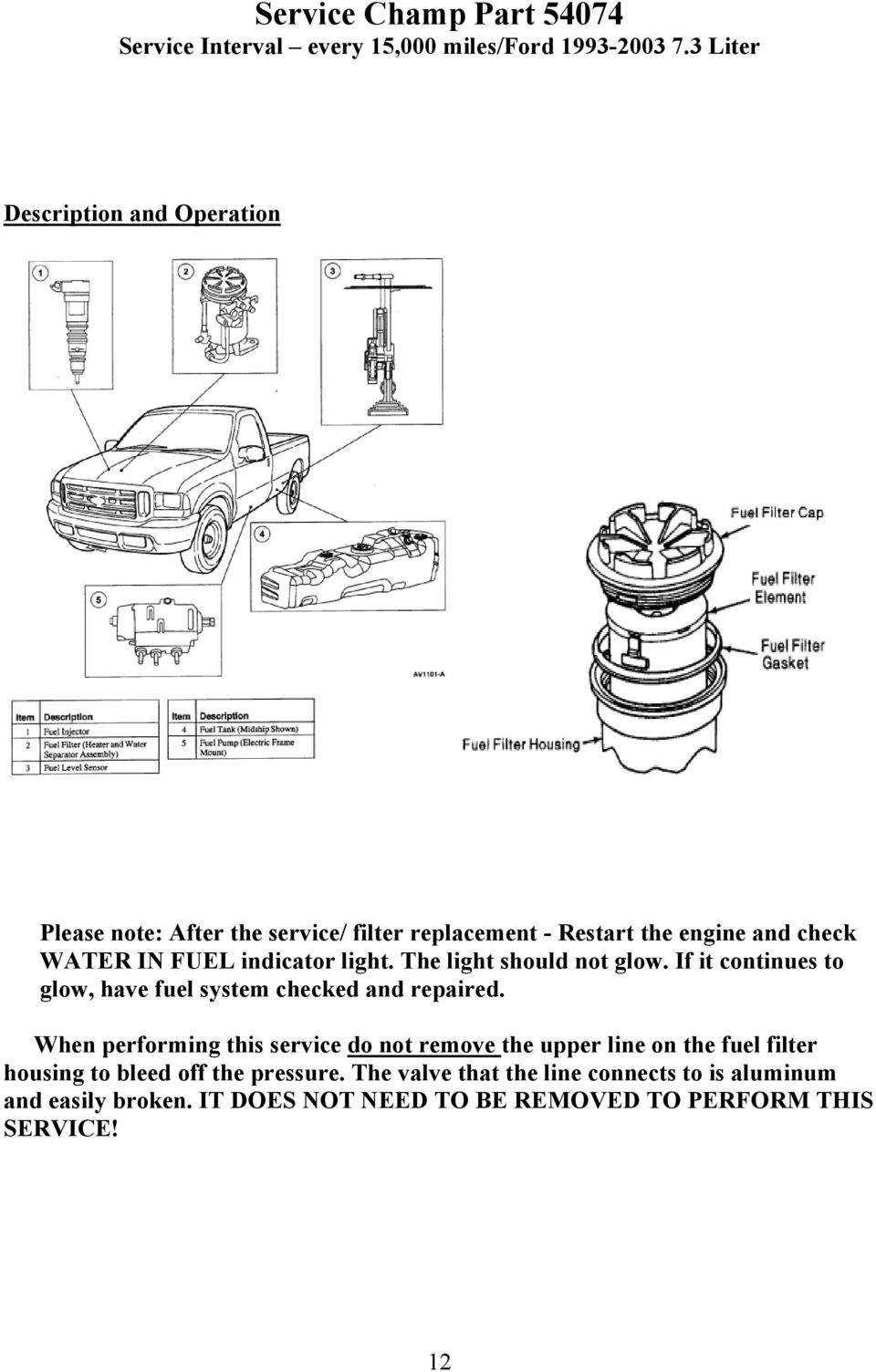 Pdf Fuel Filter Housing Assembly Indicator Light The Should Not Glow If It Continues To Have