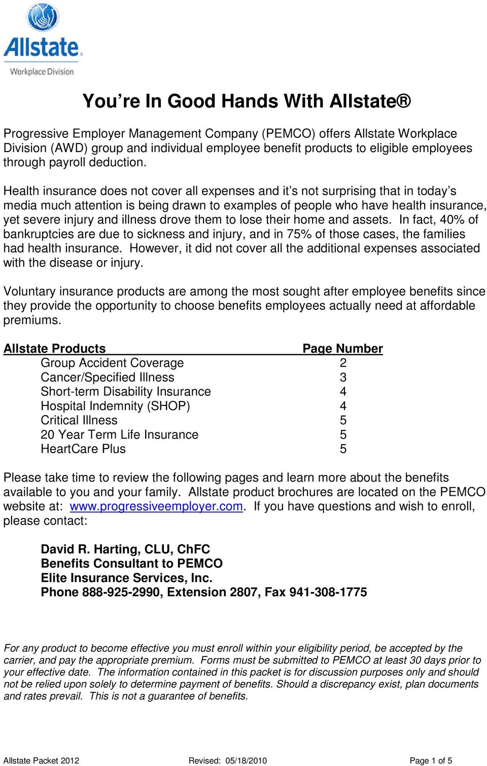 Allstate Employee Benefits >> You Re In Good Hands With Allstate Pdf