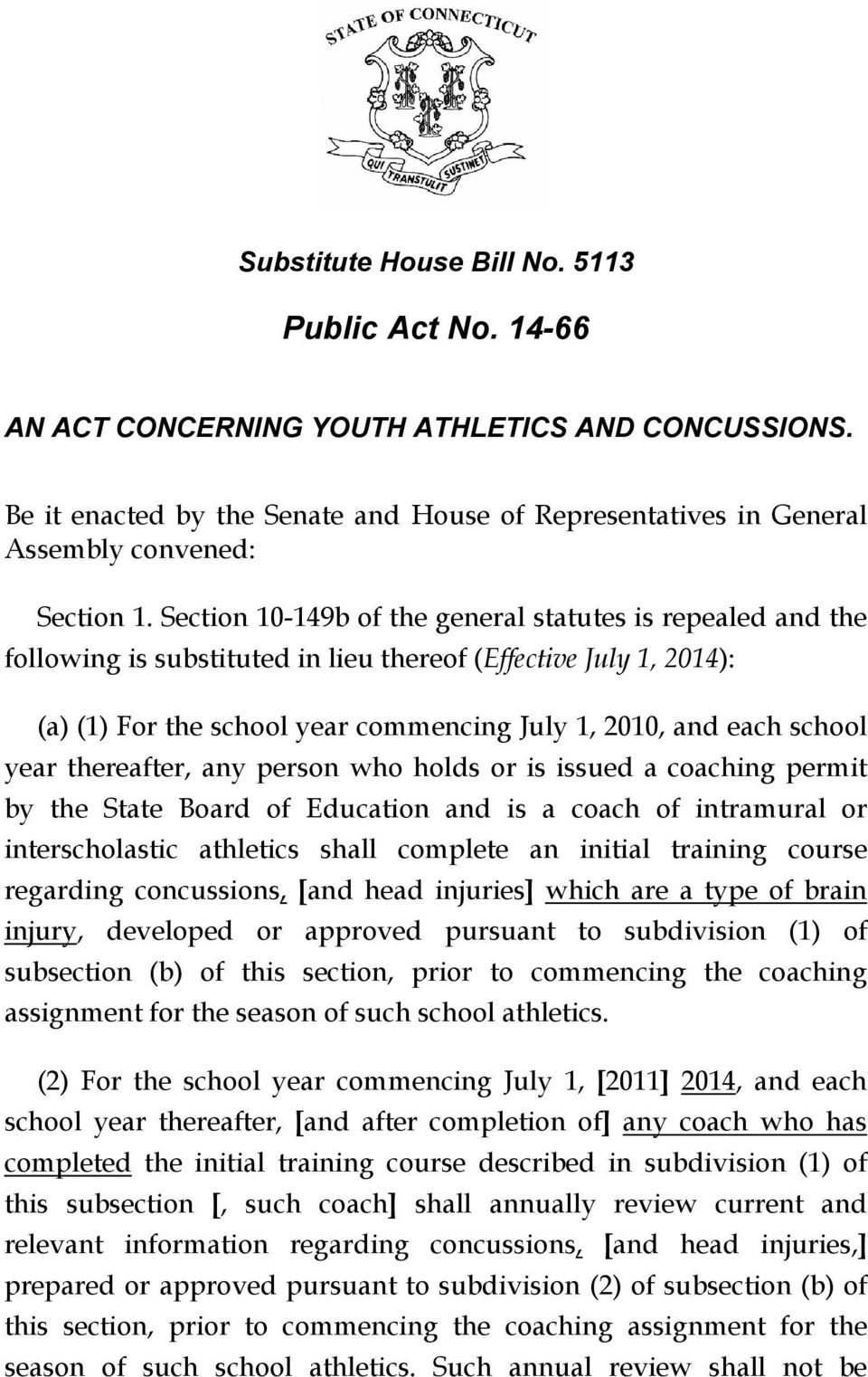 year thereafter, any person who holds or is issued a coaching permit by the State Board of Education and is a coach of intramural or interscholastic athletics shall complete an initial training