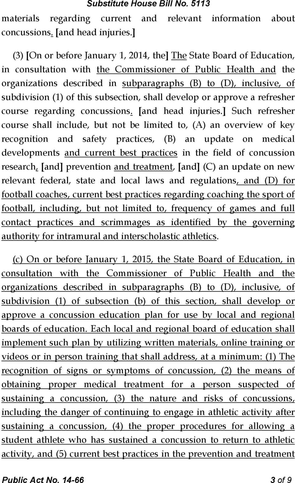 of subdivision (1) of this subsection, shall develop or approve a refresher course regarding concussions. [and head injuries.