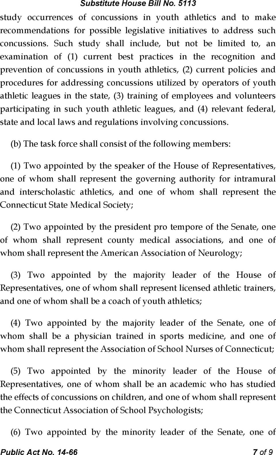 for addressing concussions utilized by operators of youth athletic leagues in the state, (3) training of employees and volunteers participating in such youth athletic leagues, and (4) relevant