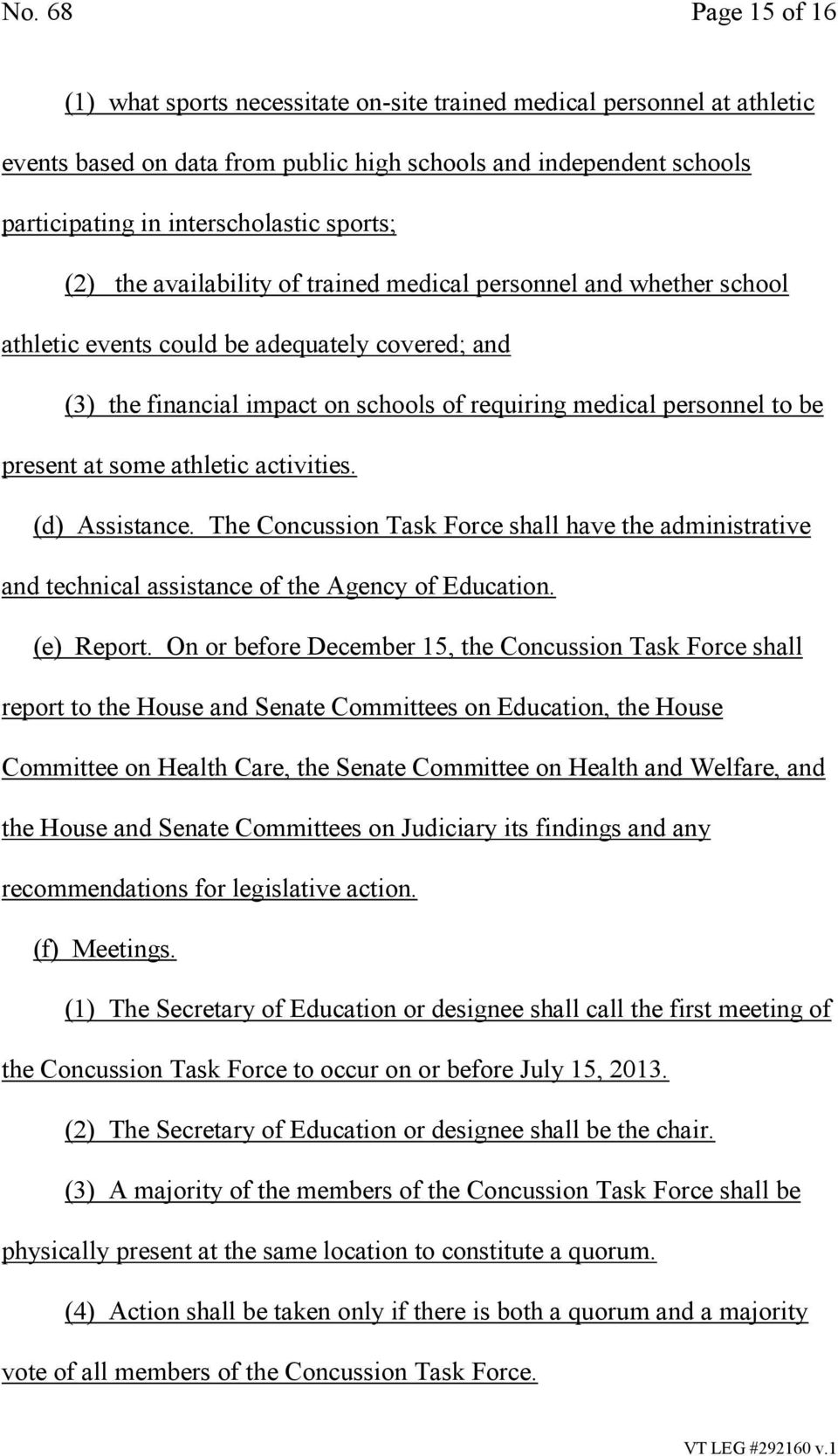 present at some athletic activities. (d) Assistance. The Concussion Task Force shall have the administrative and technical assistance of the Agency of Education. (e) Report.