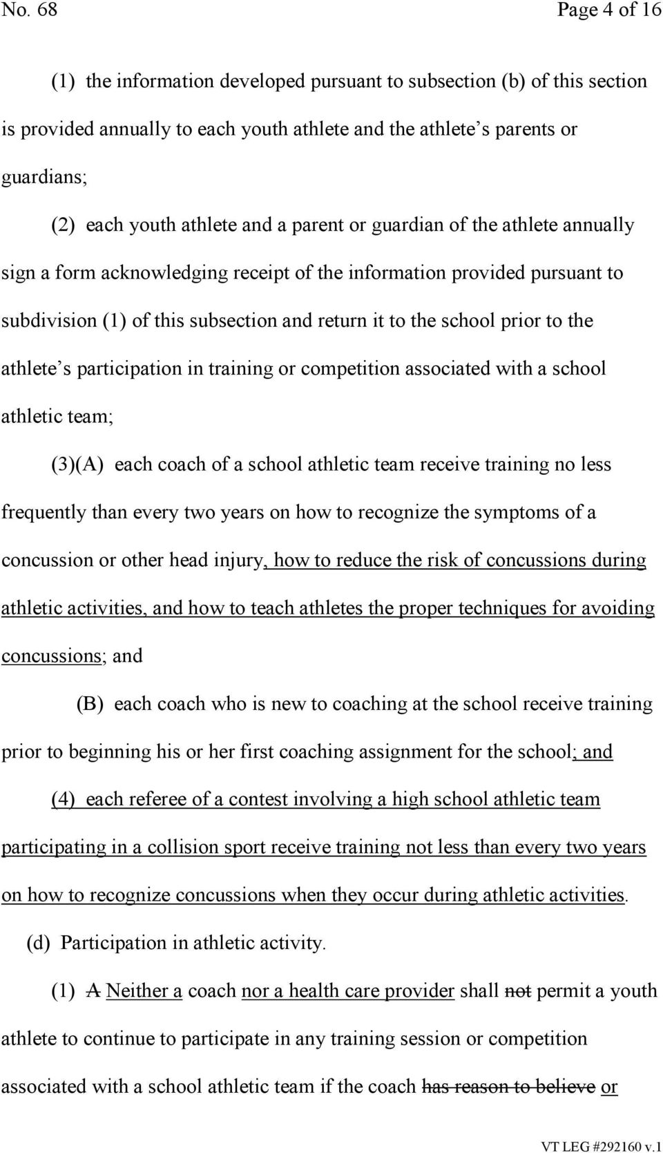 athlete s participation in training or competition associated with a school athletic team; (3)(A) each coach of a school athletic team receive training no less frequently than every two years on how