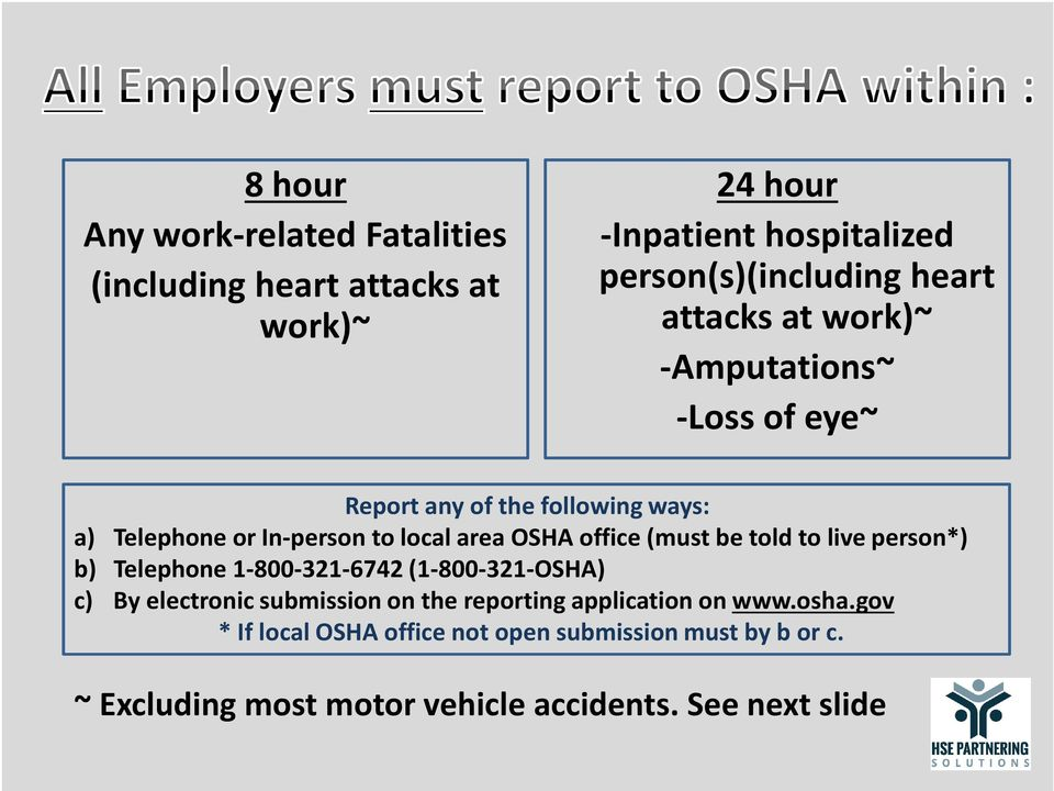 office (must be told to live person*) b) Telephone 1-800-321-6742 (1-800-321-OSHA) c) By electronic submission on the reporting