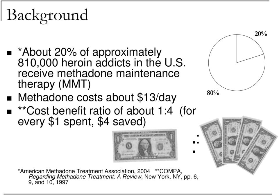 ratio of about 1:4 (for every $1 spent, $4 saved) 80% : *American Methadone Treatment