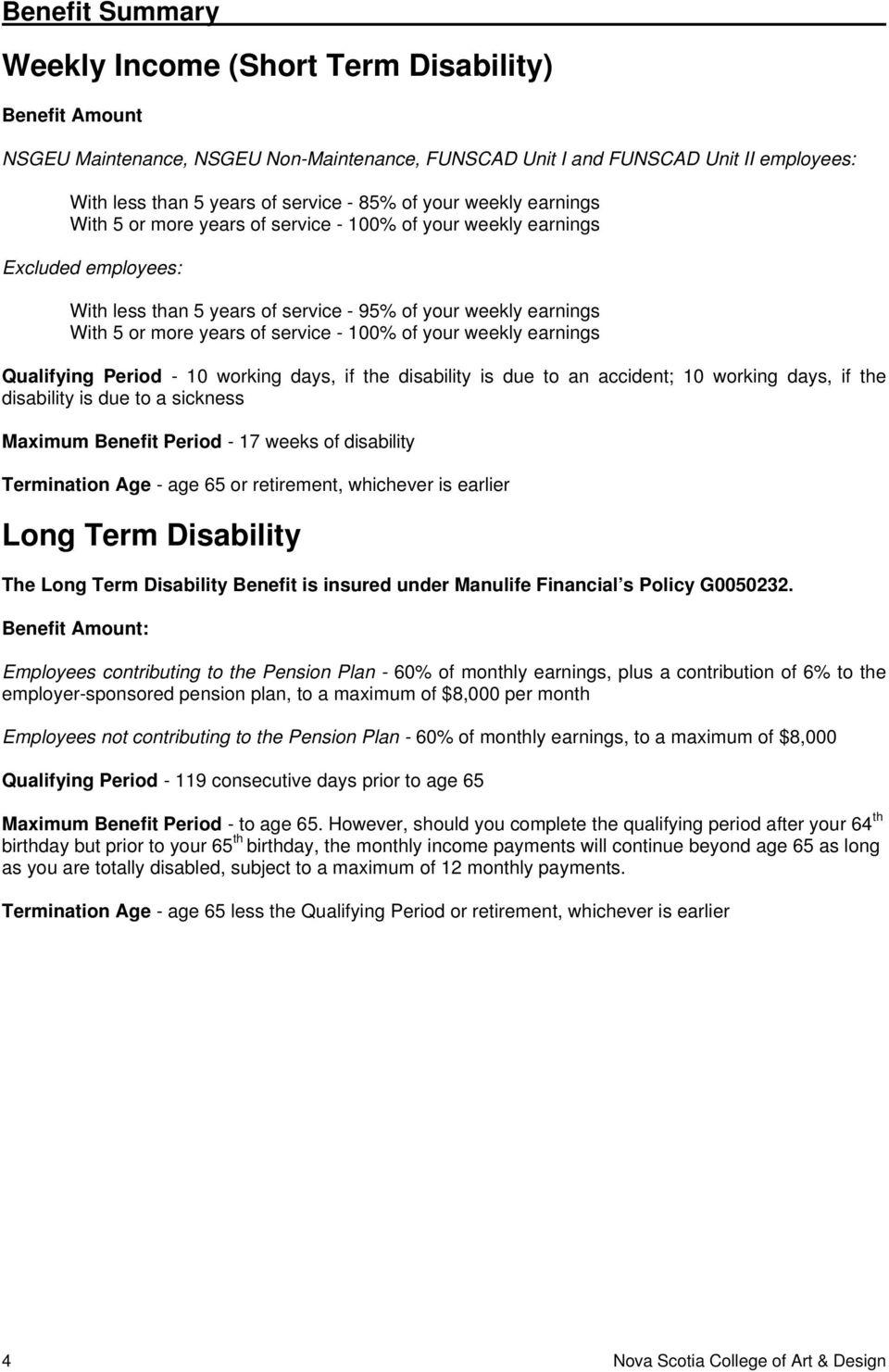 - 100% of your weekly earnings Qualifying Period - 10 working days, if the disability is due to an accident; 10 working days, if the disability is due to a sickness Maximum Benefit Period - 17 weeks