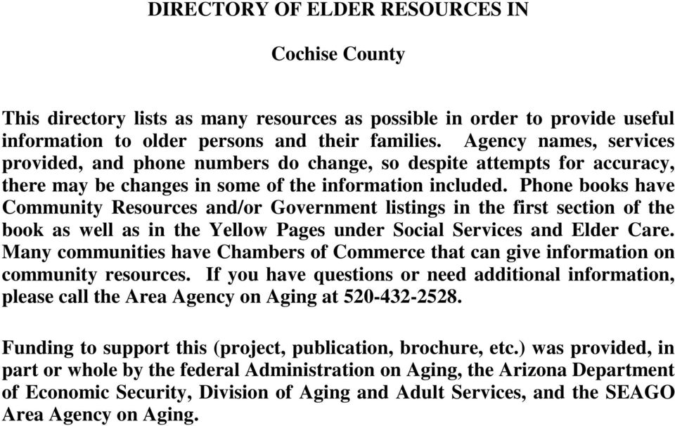 DIRECTORY OF ELDER RESOURCES FOR COCHISE COUNTY - PDF