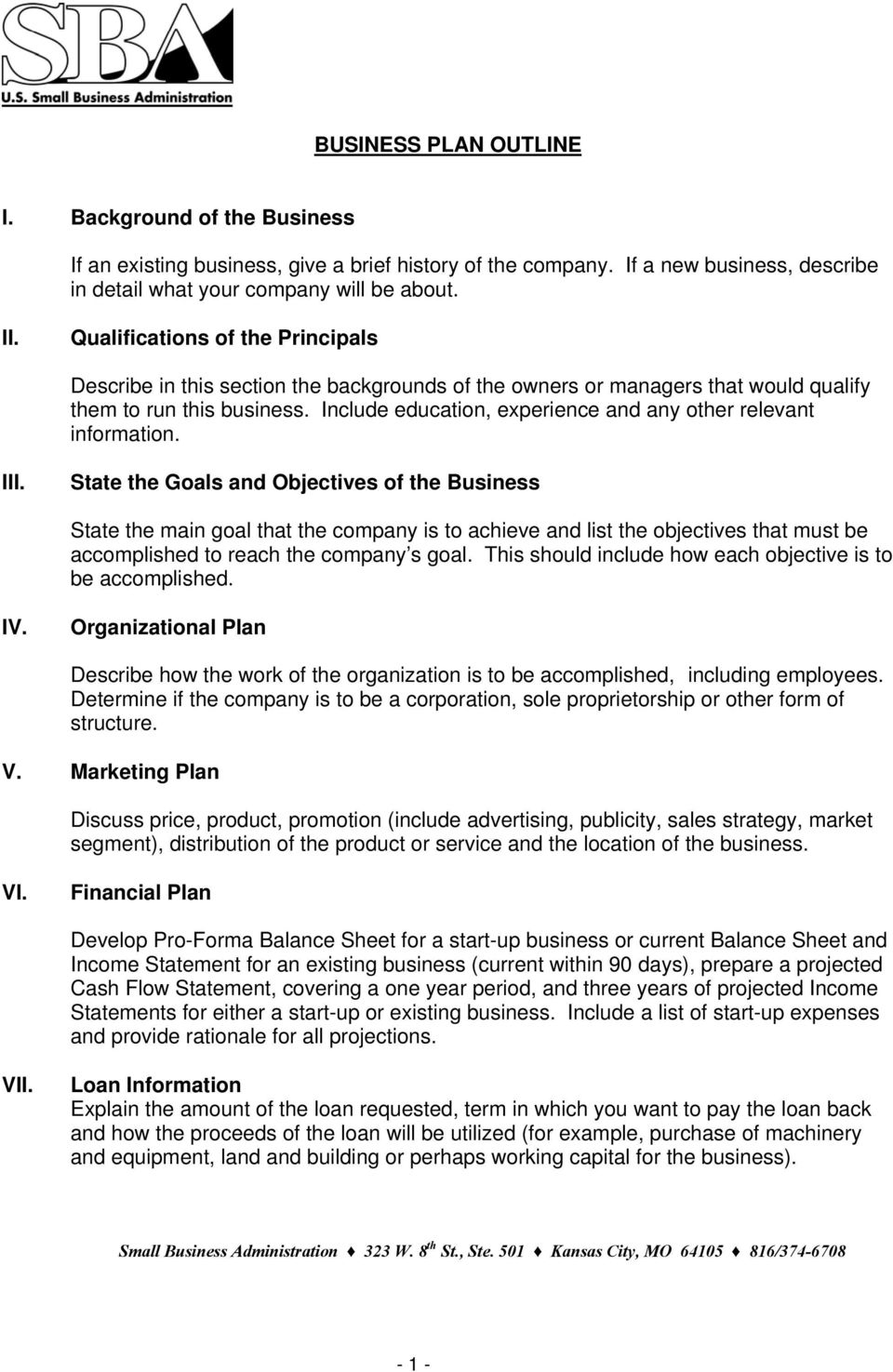 Business Plan Outline Pdf Free