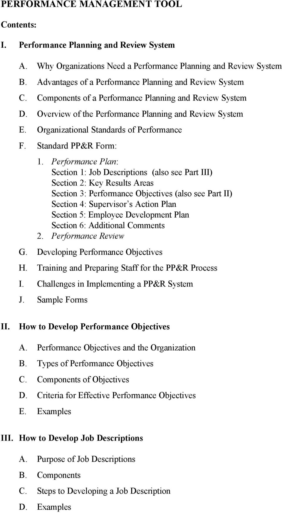 Organizational Standards of Performance F. Standard PP&R Form: 1.