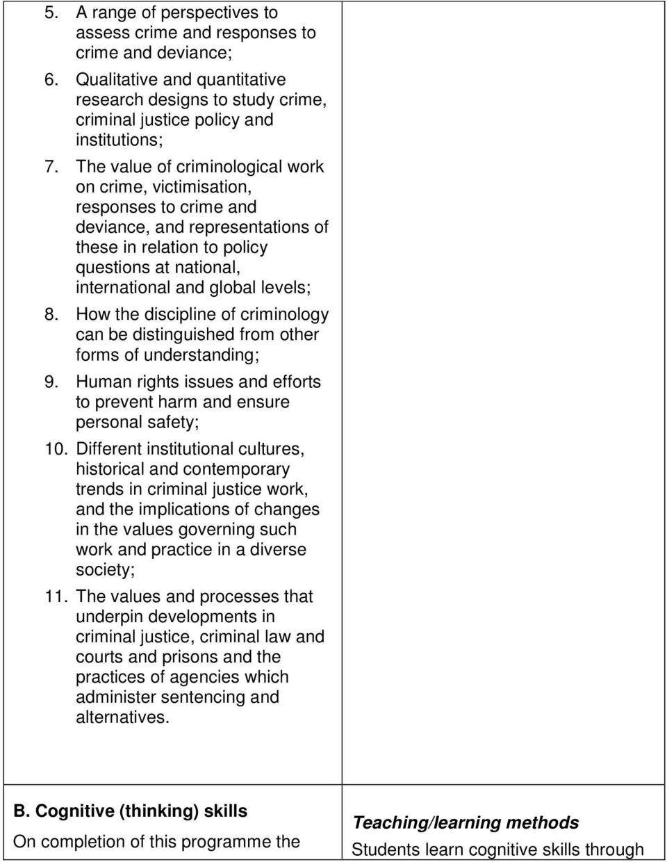 How the discipline of criminology can be distinguished from other forms of understanding; 9. Human rights issues and efforts to prevent harm and ensure personal safety; 10.