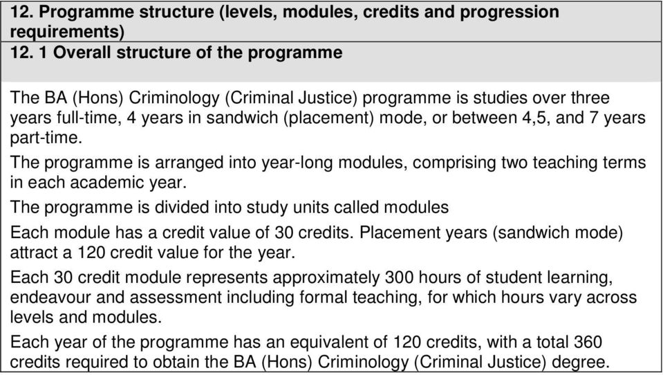 part-time. The programme is arranged into year-long modules, comprising two teaching terms in each academic year.