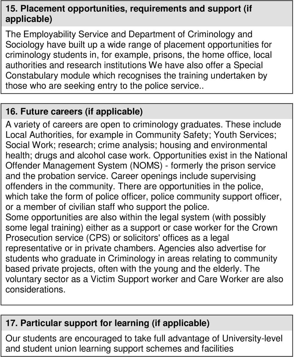 by those who are seeking entry to the police service.. 16. Future careers (if applicable) A variety of careers are open to criminology graduates.