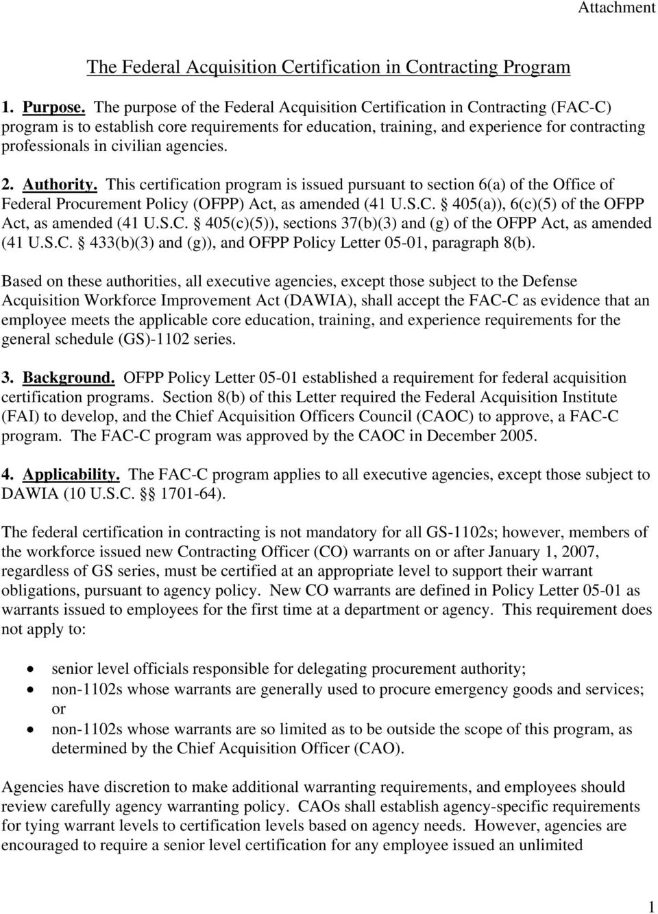 The Federal Acquisition Certification In Contracting Program Pdf