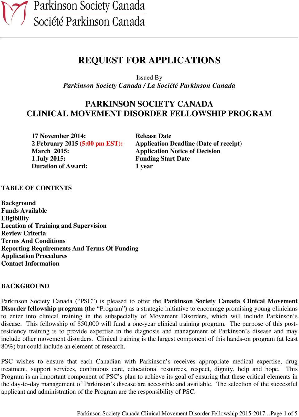 REQUEST FOR APPLICATIONS - PDF