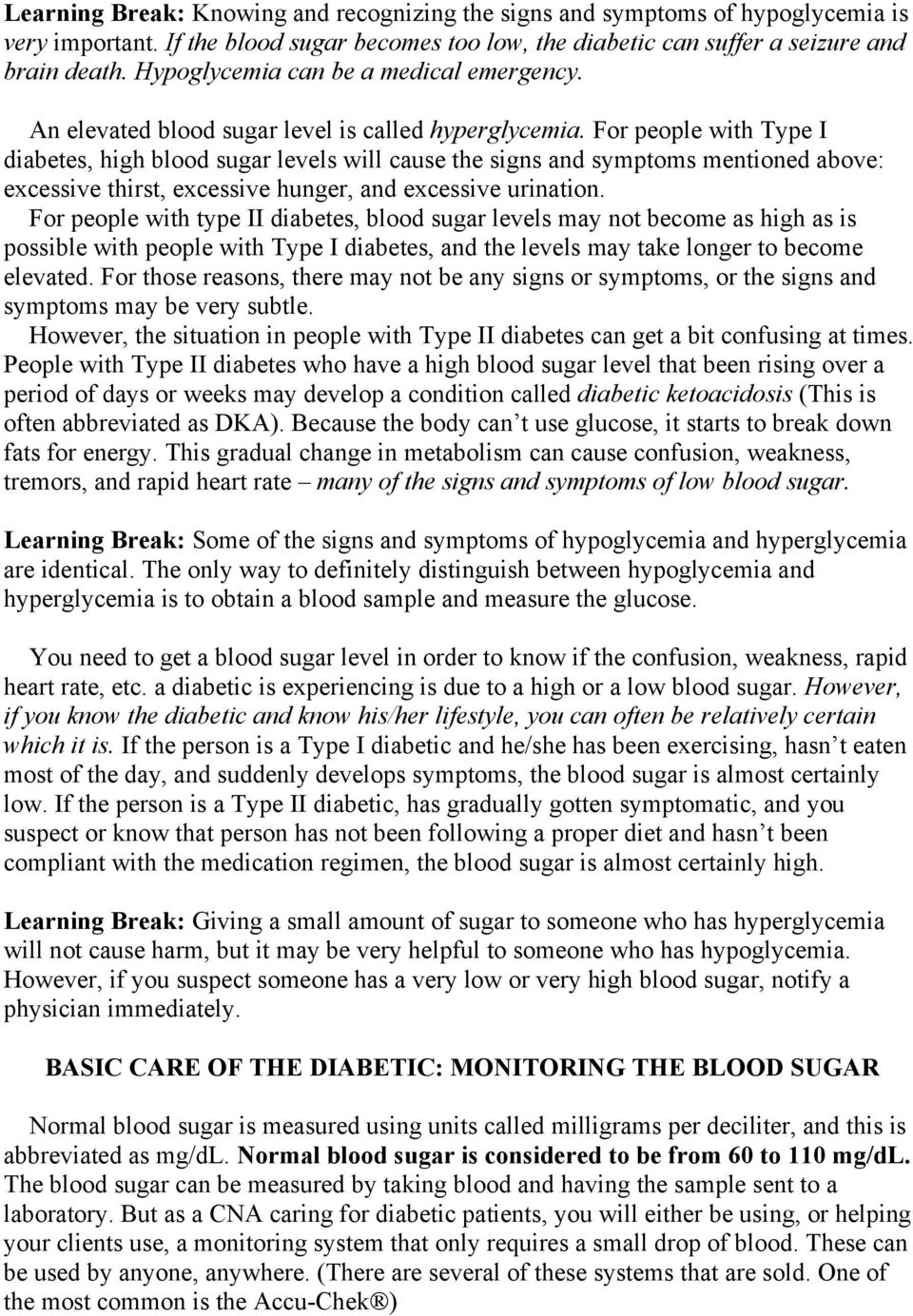HOW TO CARE FOR A PATIENT WITH DIABETES - PDF