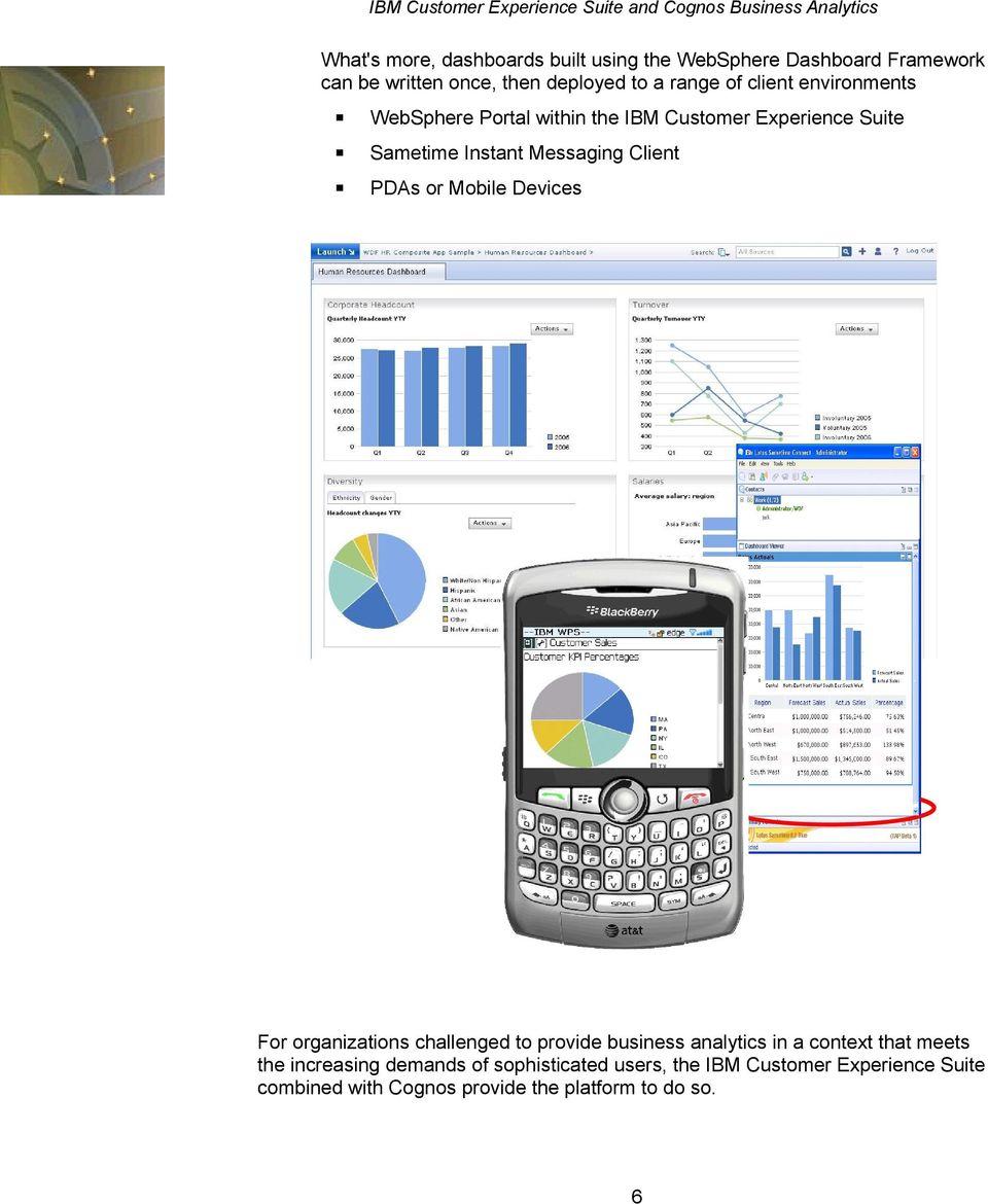 PDAs or Mobile Devices For organizations challenged to provide business analytics in a context that meets the