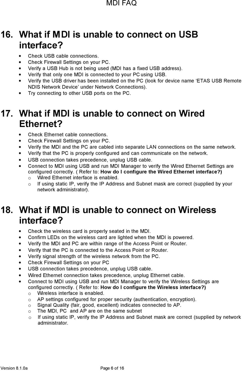 Mdi Faq Version 810a Page 1 Of 16 Pdf Wired Network Cable Diagram Try Connecting To Other Usb Ports On The Pc 17 What If Is
