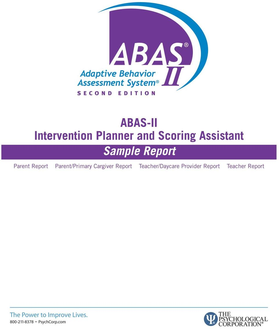 Abas sample report manual cover adaptive behavior assessment.