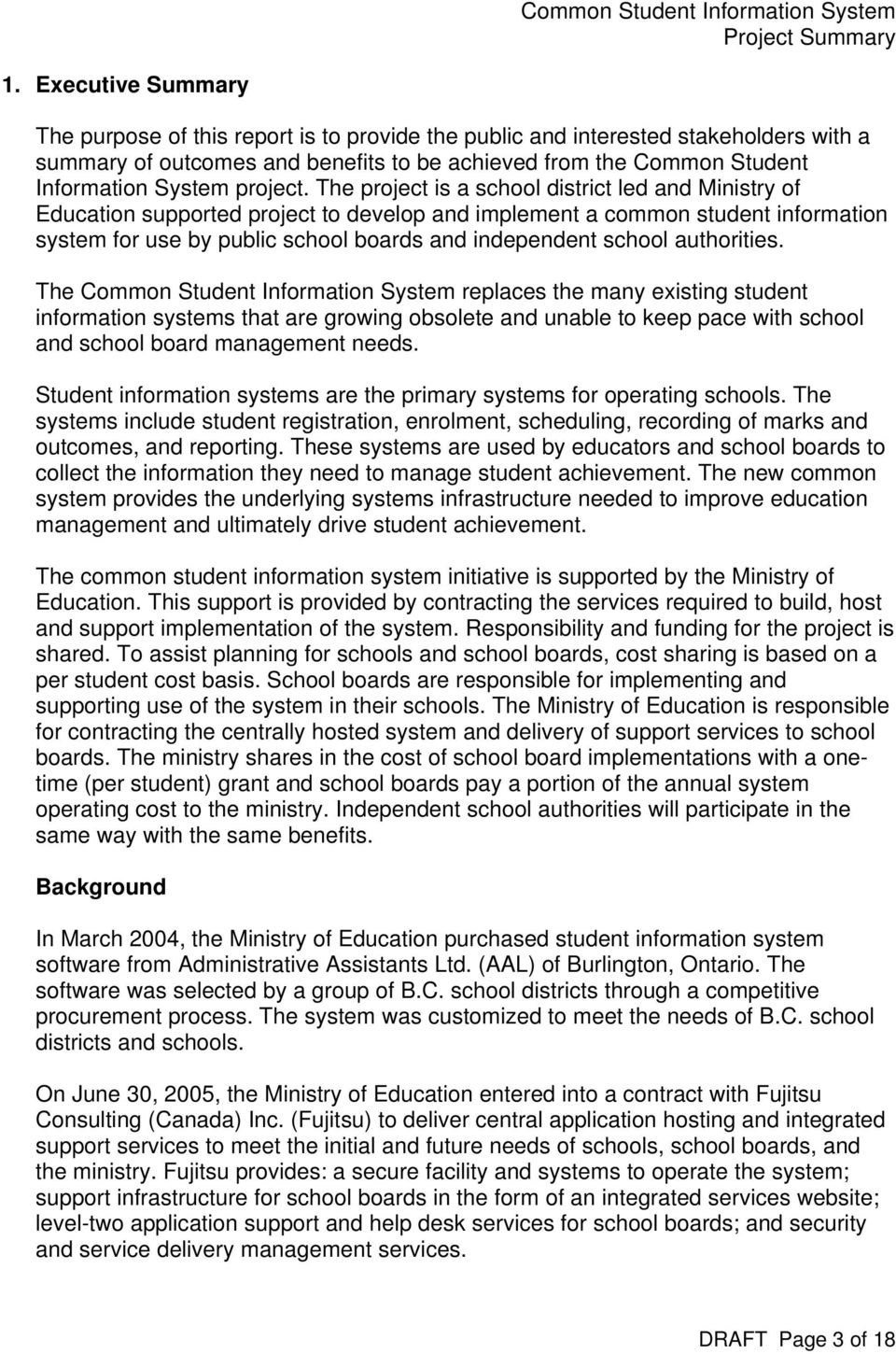Common Student Information System for Schools and School Boards