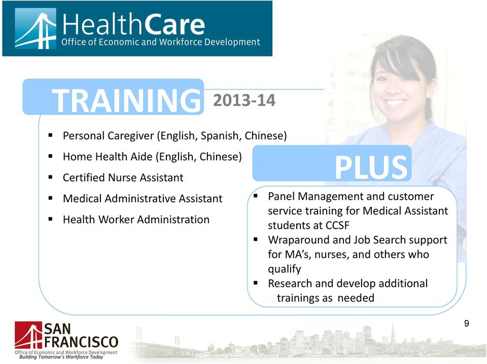 customer service training for Medical Assistant students at CCSF Wraparound and Job Search support for MA s,