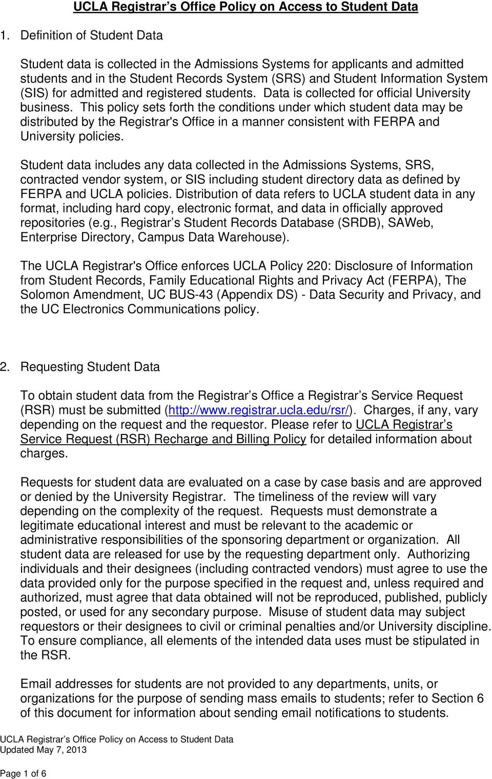 UCLA Registrar s Office Policy on Access to Student Data - PDF