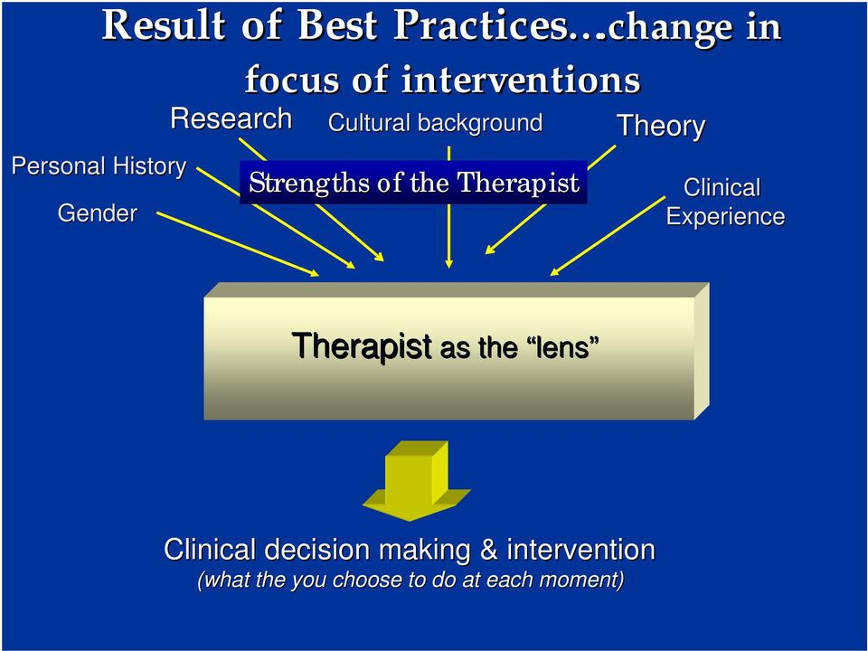 Cultural background Strengths of the Therapist Theory Clinical