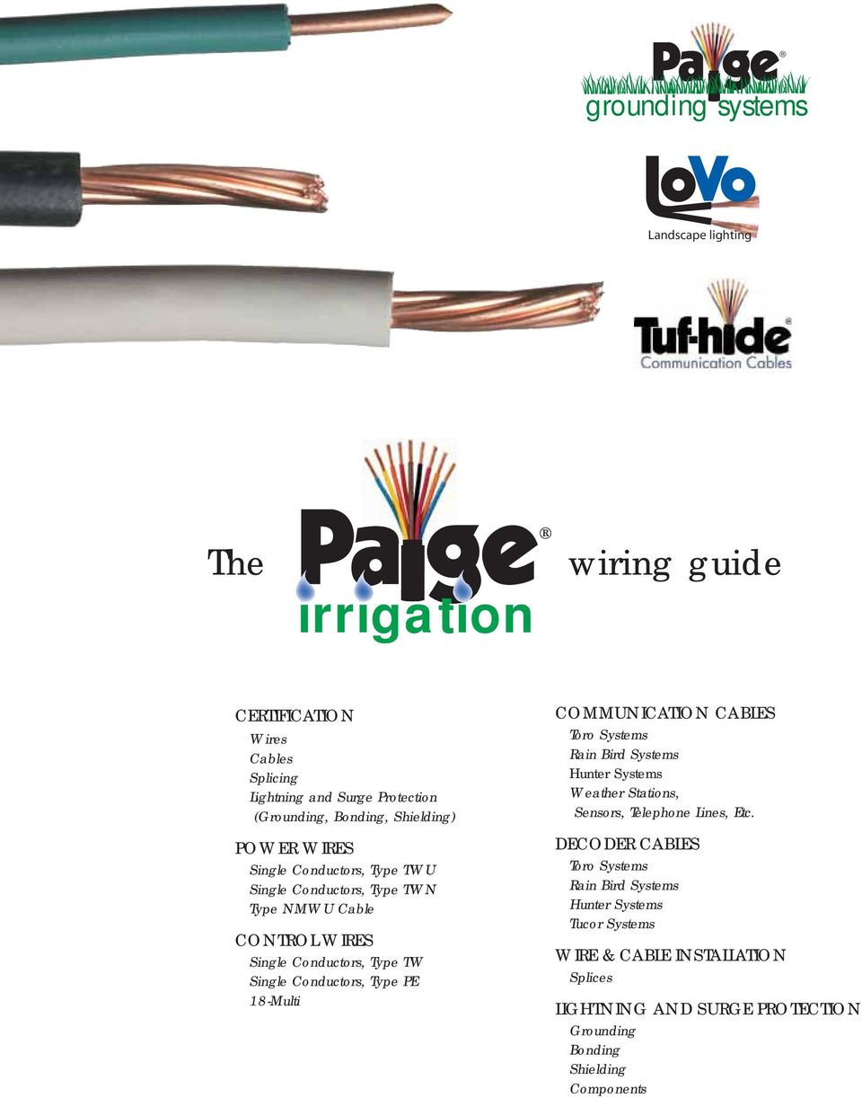 Courtesy Of Hunter Industries Inc Irrigation Wiring Guide Pdf Lights In Series Complete Electrical And Electronics Type Pe 18 Multi Communication Cables Toro Systems Rain Bird Weather Stations