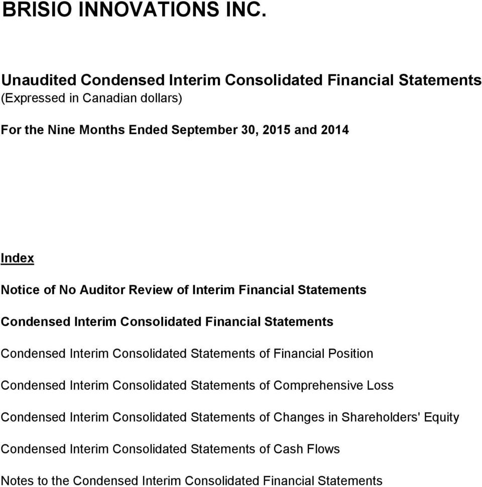 Financial Position Condensed Interim Consolidated Statements of Comprehensive Loss Condensed Interim Consolidated Statements of