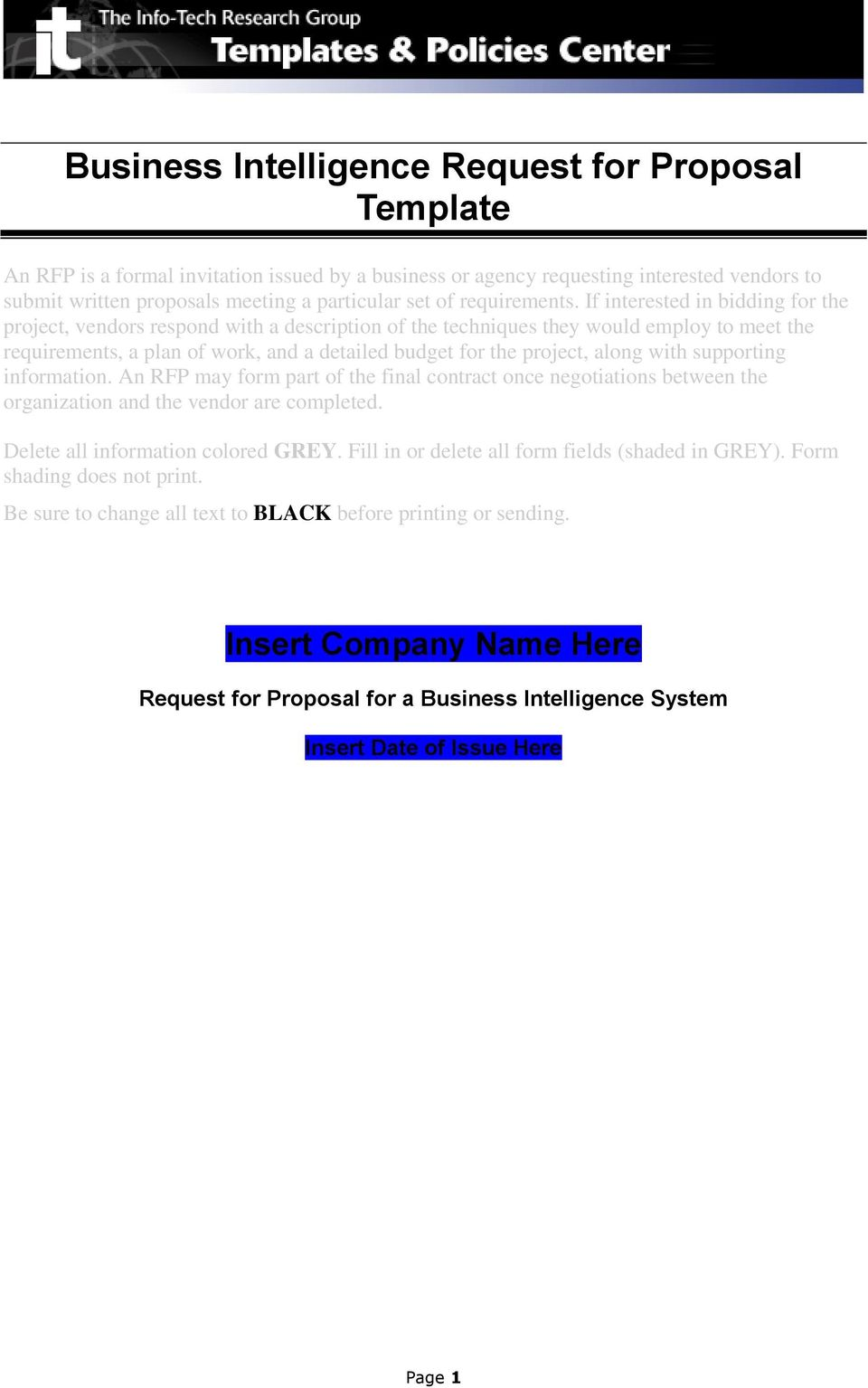 Business Intelligence Request For Proposal Template Pdf