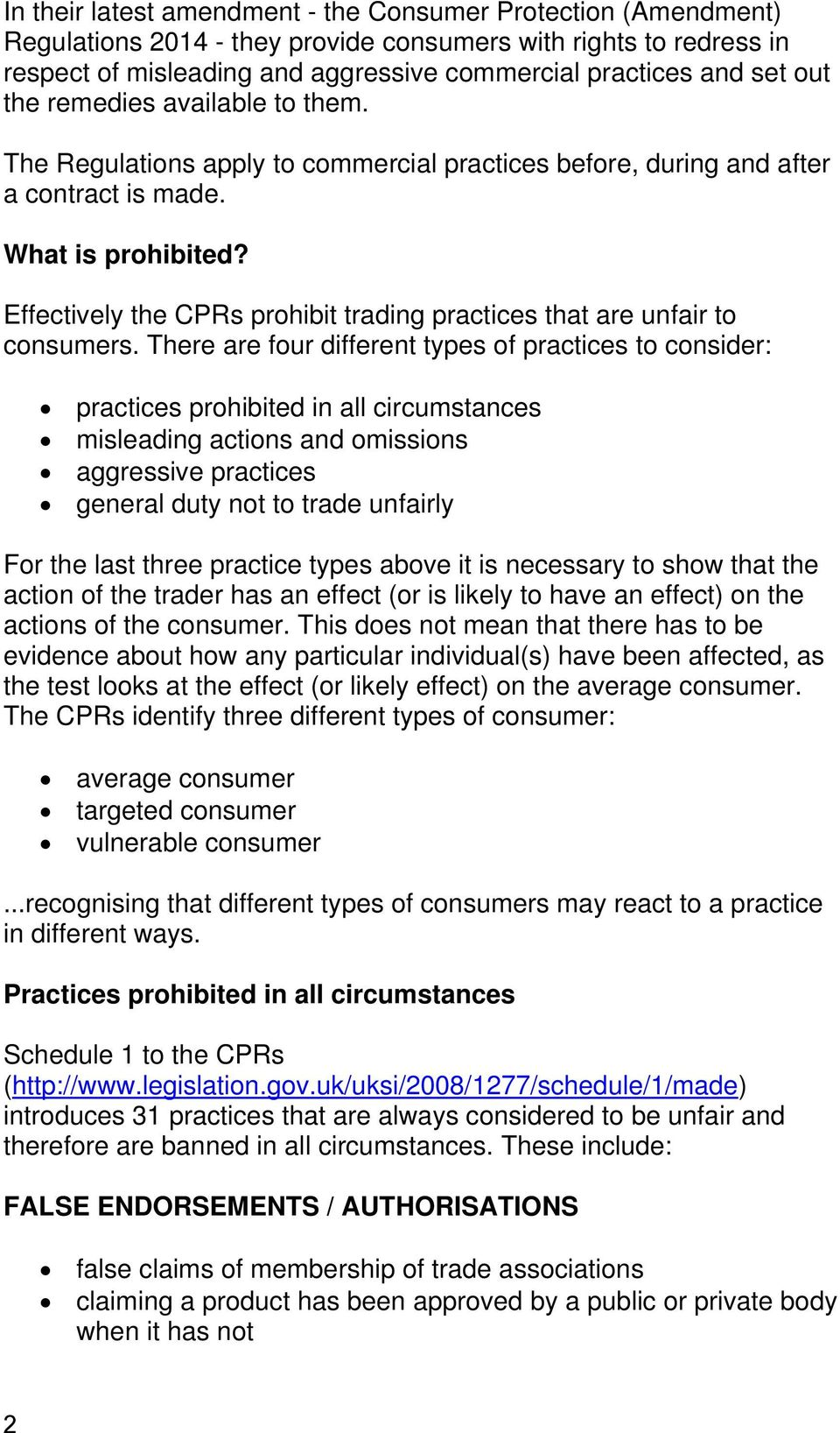 Consumer protection from unfair trading - PDF