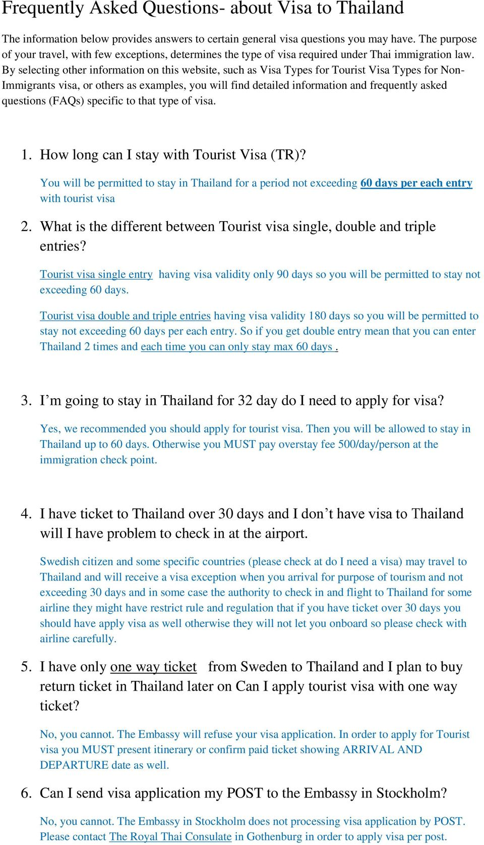 Frequently Asked Questions- about Visa to Thailand - PDF