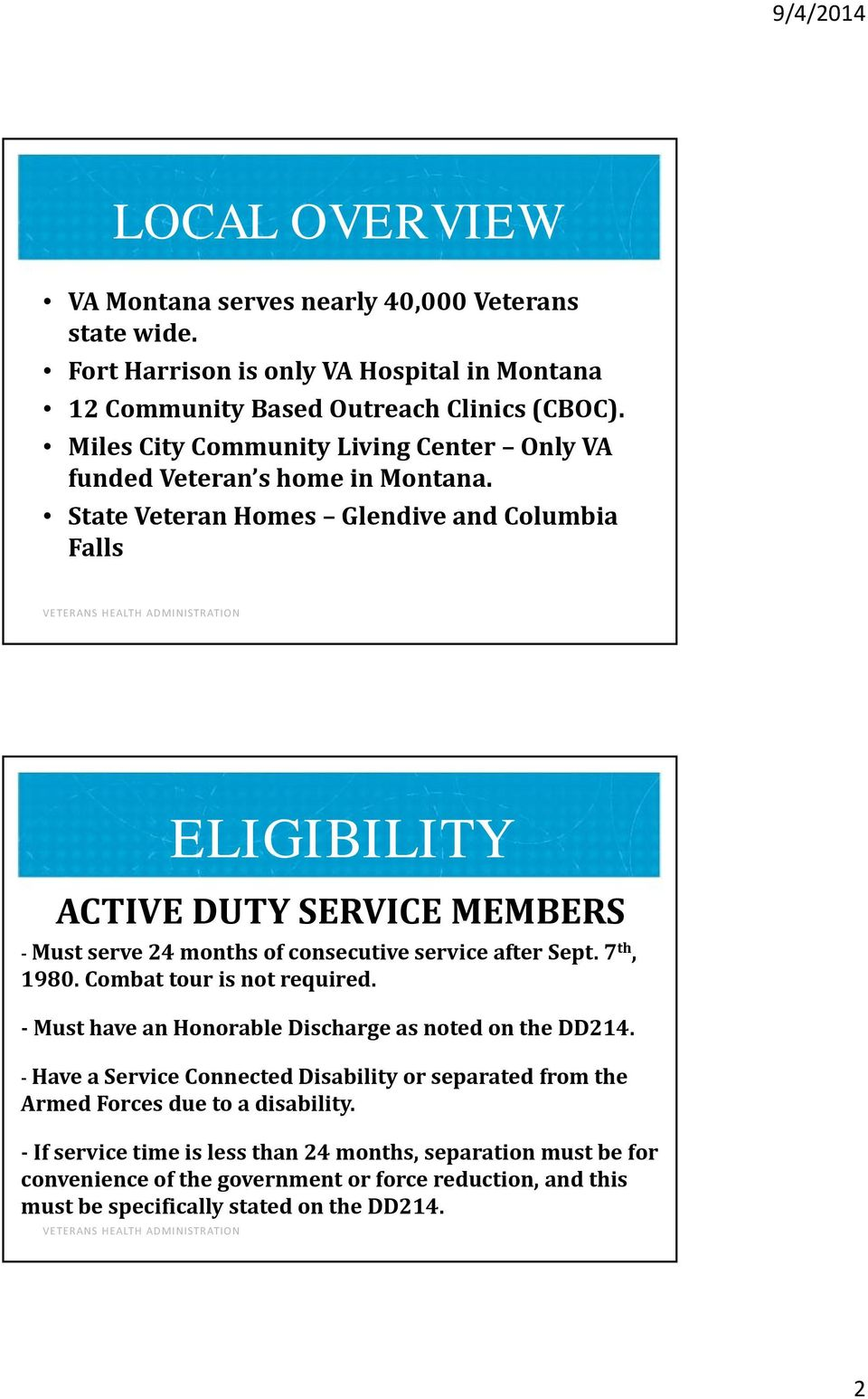 VA HEALTH CARE OVERVIEW AND ELIGIBILITY - PDF