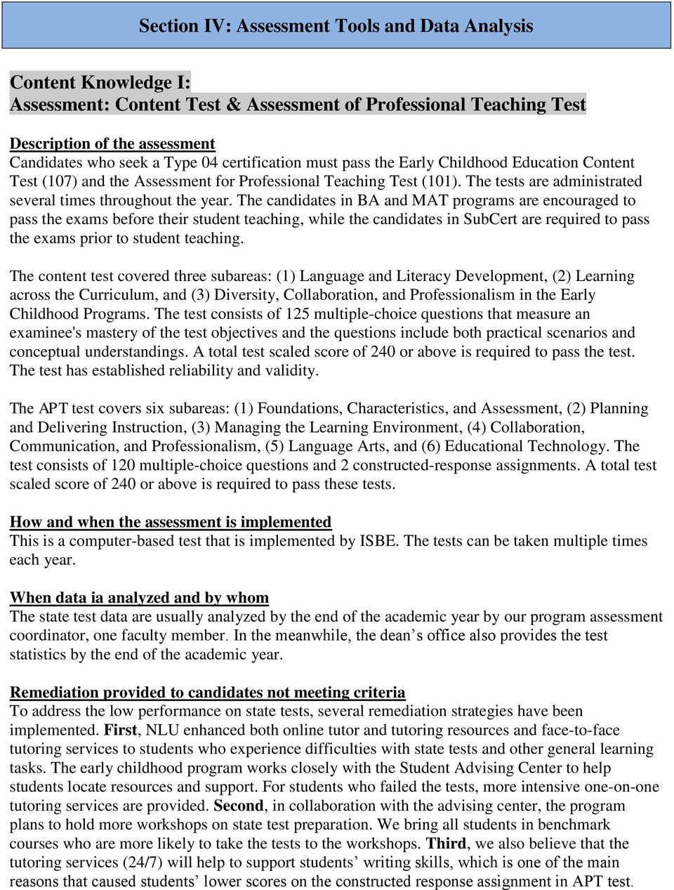 Early Childhood Education Program Annual Assessment Report Pdf