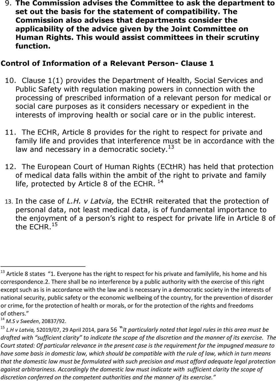Control of Information of a Relevant Person- Clause 1 10.