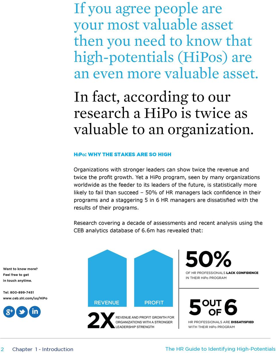 HiPo: WHY THE STAKES ARE SO HIGH Organizations with stronger leaders can show twice the revenue and twice the profit growth.