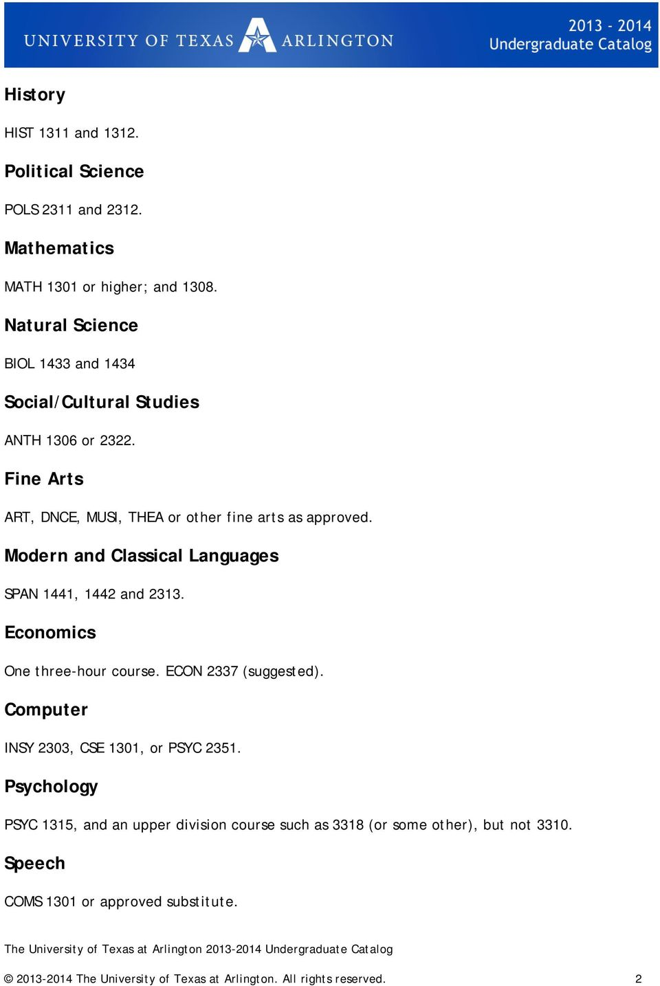 Modern and Classical Languages SPAN 1441, 1442 and 2313. Economics One three-hour course. ECON 2337 (suggested).