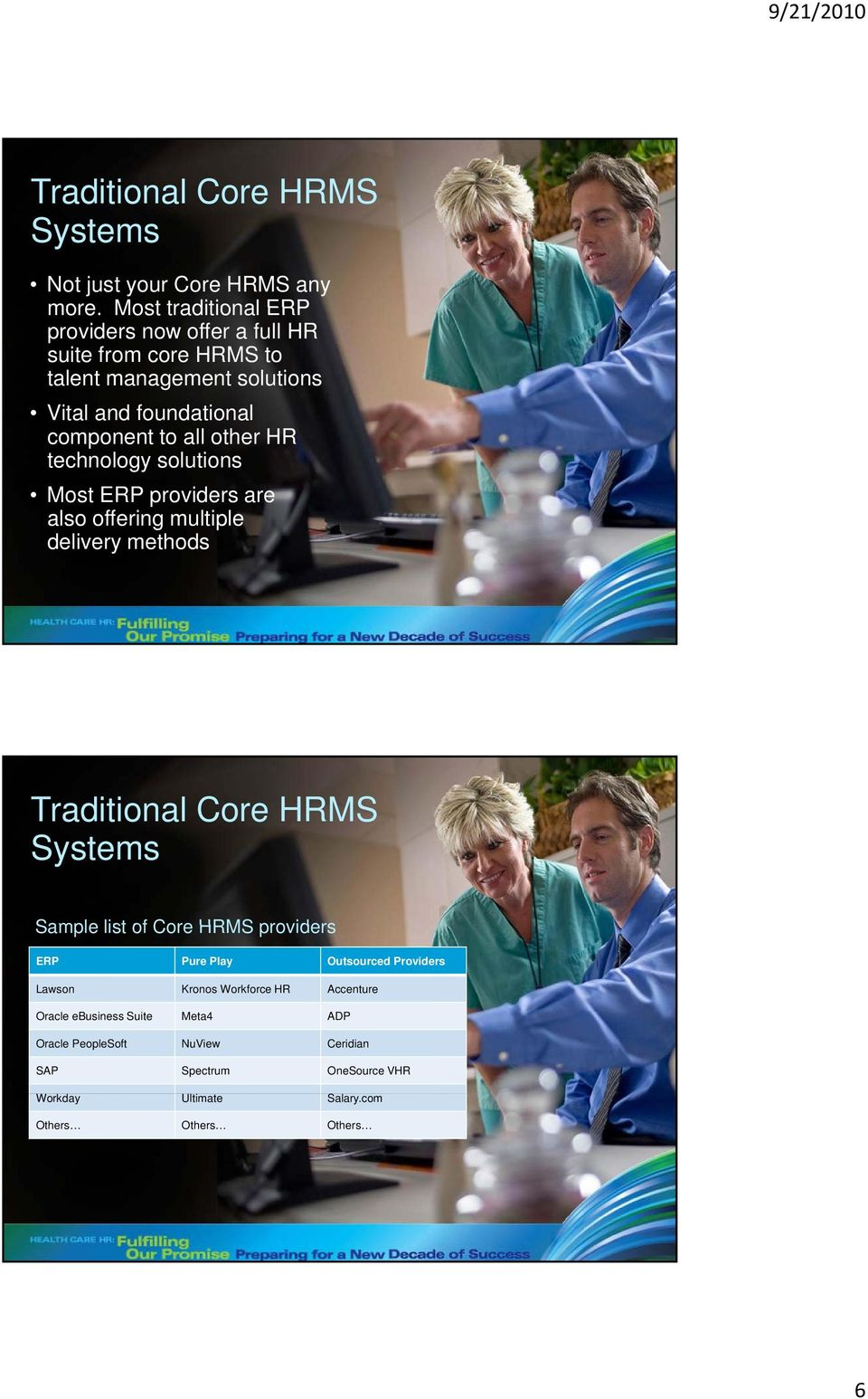 other HR technology solutions Most ERP providers are also offering multiple delivery methods Traditional Core HRMS Systems