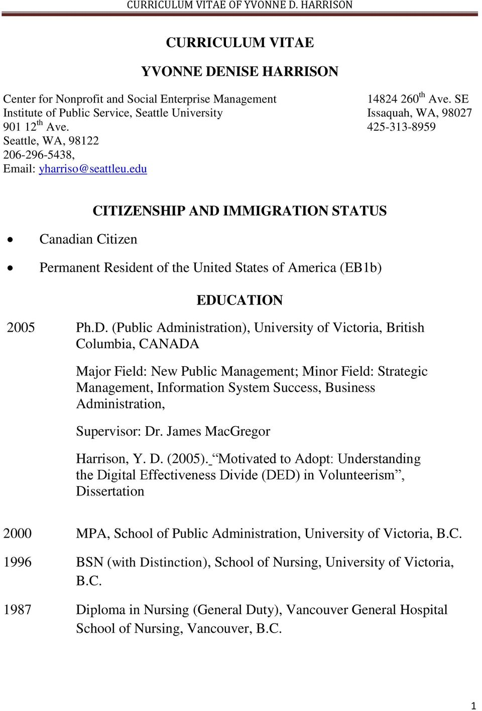CURRICULUM VITAE YVONNE DENISE HARRISON CITIZENSHIP AND IMMIGRATION